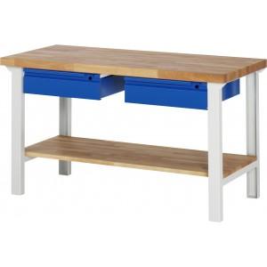 RAU Arbeitstisch / Werkbank Serie Basic-7 | 1 Ablageboden | 2 Schubladen