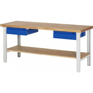 RAU Arbeitstisch / Werkbank Serie Basic-7 | Höhenverstellbar | 1 Ablageboden | 2 Schubladen